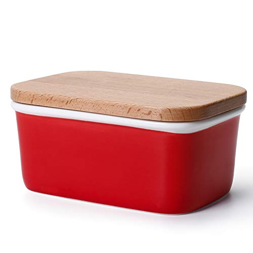 (Sweese 301.104 Large Butter Dish - Porcelain Keeper with Beech Wooden Lid, Perfect for 2 Sticks of Butter, Red)