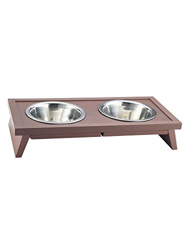 ecoFLEX-Adjustable-Height-Double-Dog-Bowl-by-New-Age-Pet-Large-Russet