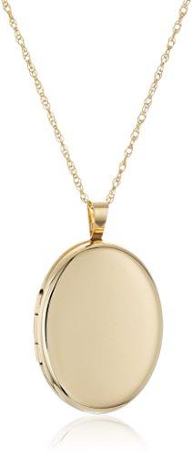 14k Gold-Filled Large Polished Oval Locket Necklace, 18
