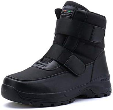 メンズ黒アウトドアカジュアル雪のブーツ太い豪華なラウンドヘッドフラットレーススタイルスーパー繊維防水冷たい暖かい綿の靴ライニング (色 : 黒, サイズ : 27.5 CM)