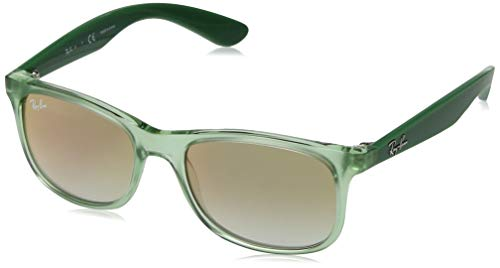Ray-Ban Junior RJ9062S Rectangular Kids Sunglasses, Transparent Green/Green Red Gradient Mirror, 48 mm