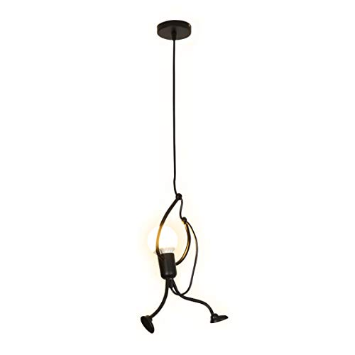 (SOUTHPO Pendant Lighting Black Modern Creative Little People Mini Adjustable Hanging Lights for Bedroom Decor Iron Cartoon Doll Chandeliers for Dining Rooms 1×E26 MAX40W Baking Paint Finish (S))