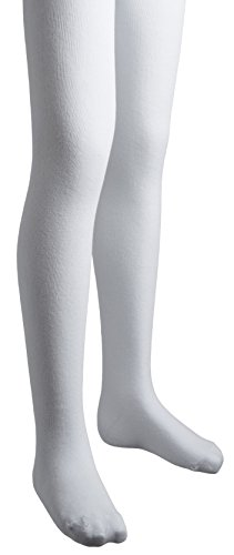 Sportoli Girls Flat Knit Cotton Hold and Stretch Footed Winter Tights - White (size 2/4) for $<!--$13.99-->