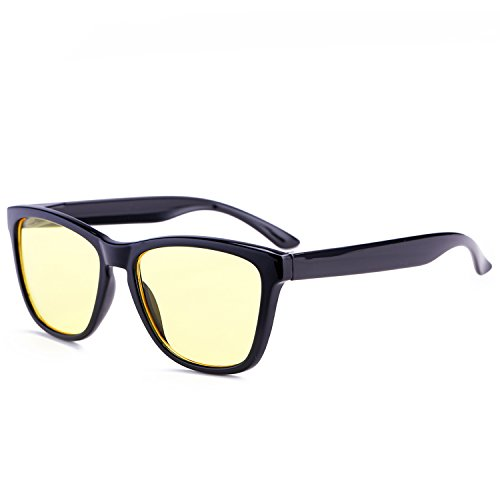 cafc025aebc Retro Tinted Square Wayfarer Sunglasses for Women Men Rimmed Candy Color  Glasses(Yellow Lens+Black Frame) - Buy Online in UAE.