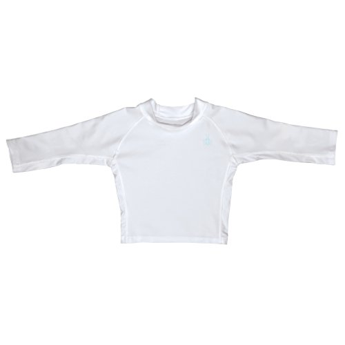 i play. Baby Long Sleeve Rashguard Shirt, White, 18 Months (Boys Diaper Shirt)