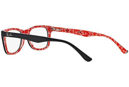Rouge Brillant Ray RX5228 53 Noir blanc sur en RX5228 Ban noir 5014 Lunettes wOqw7PA