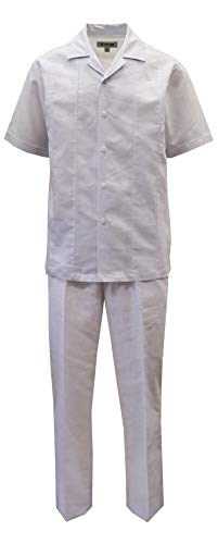 STACY ADAMS Men's Solid Linen Shirt & Pant Set (XL, White)
