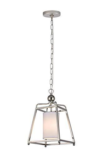 New! Decor Living One Light Adjustable Modern Cage Pendant, Polished Nickel