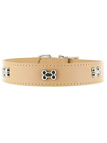 "Kakadu Pet Give a Dog a Bone Leather Dog Collar, 5/8"" x 14"", Tan"