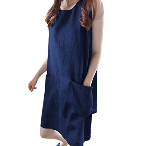 nuewofally Women Cotton Linen Casual Dress Sleeveless Barrel Skirt with Pocket Loose Knee-Length Skirts Short Sundress Navy - Jersey Ride Mesh