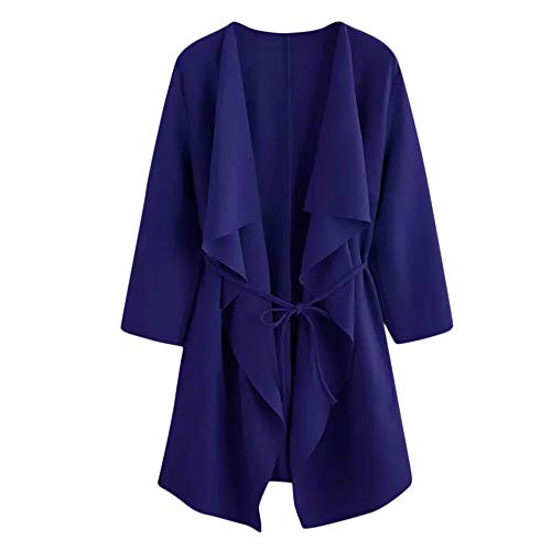 GOVOW Waterfall Sweaters for Women Casual Collar Pocket Front Wrap Coat Jacket Outwear (US:4/CN:S,Blue ) ()
