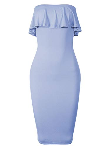 BEYONDFAB Women's Soft Stretchable Off Shoulder Ruffle Tube Dress Dusty Blue L
