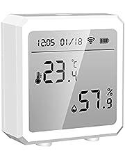 SOLE HOME WiFi Temperatuur en Vochtigheid Sensor, Hygrometer en thermometer Met LCD Screen Display Alarm Push, werken met Alexa Google Assistant Powered Smart Life/TUYA smart