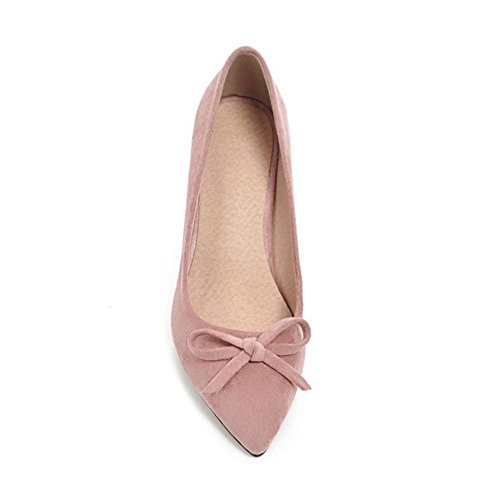 TAOFFEN Women's Pointed Toe Chunky Heel Court Shoes Pink-29 1nslJkeD