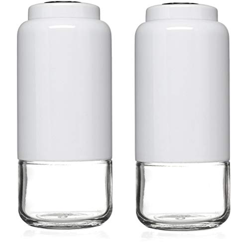 (CHEFVANTAGE Salt and Pepper Shakers Set with Adjustable Pour Holes - White)