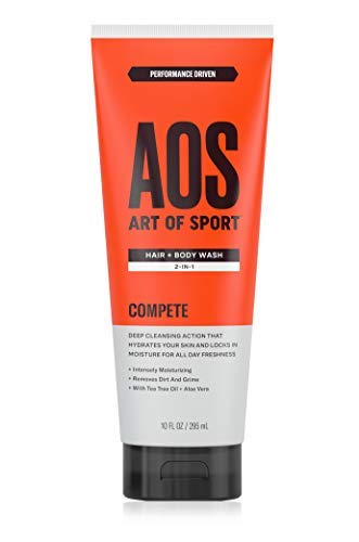 Art of Sport Hair and Body Wash with Tea Tree Oil and Aloe Vera, Compete Scent, 2-in-1 Shampoo and Shower Gel, Use as Body Soap and Face Wash, 10 oz