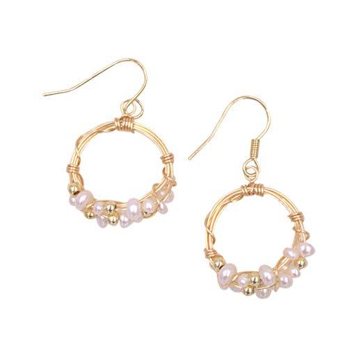 (UE401Z-Circle Wire Handmade Baroque Pearl Earrings Birthday Gift Designer Jewelry 14K Plated White)