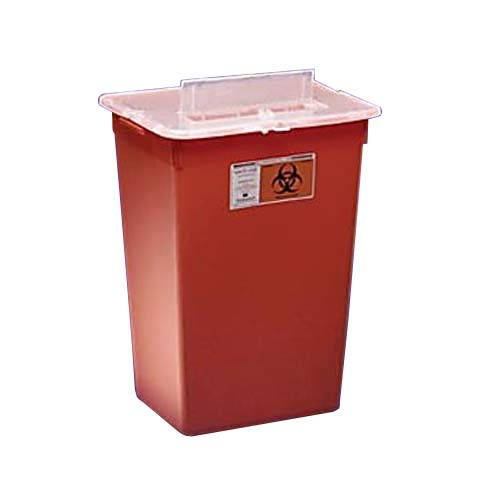 Kendall 31156550 Sharps-A-Gator General Purpose Large Volume Sharps Disposal Biohazard Waste Container, 7 Gallon Capacity, Red (Case of 10) by Thomas Scientific