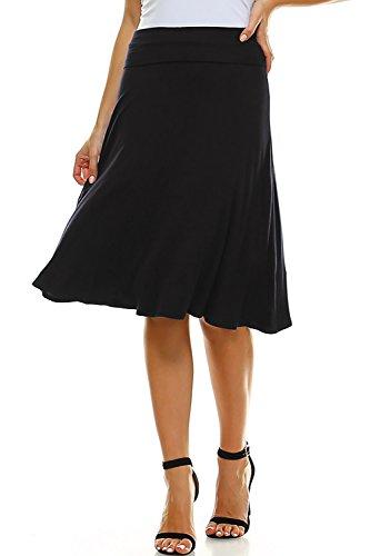 Amie Finery Knee Length Midi Skirt A Line Flared Swing Fold Over Skirt for Women Made in USA
