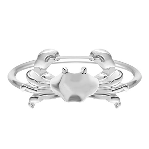 Qiandi Handmade Lovely Animal Crab Rings for Women Girls Simple Jewelry Birthday Gift