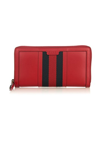 Gucci Vintage Web Red Leather Zip around Classic Wallet New