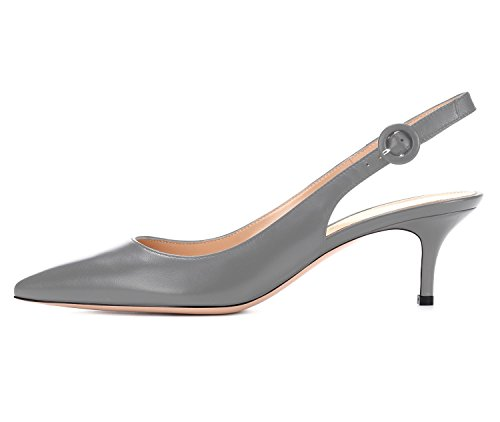 Women's Grey Ankle Slip uBeauty Pointy On Basic Shoes Court Stiletto Sandals Slingback Shoes Kitten Pumps Strap Heels Toe d6qwTz6