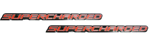 (2 x (pair/Set) Red Supercharge Supercharged Aluminum Emblems for Chevy Corvette Dodge Hot Rod Street Chevy Impala Ss Harley Davidson Camaro Range Rover Ford Mustang Gt)