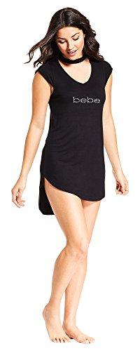 Bebe Womens Sleeveless V Neck Pajama Nightgown Dormshirt Midnight Black Medium