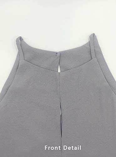 Topstype Women's Summer Sleeveless Crew Neck Tank Tops Camis Front Tie Knot Casual Shirt Keyhole Front Blouse(X-Large,Grey)