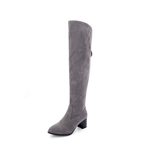 AmoonyFashion Womens Zipper Closed Round Toe Kitten-Heels Imitated Suede High-top Boots Gray gJPAbgrWQ