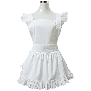 Aspire White Apron For Young Girls French Maid Style Cooking Aprons Kitchen Halloween Party Favor-White