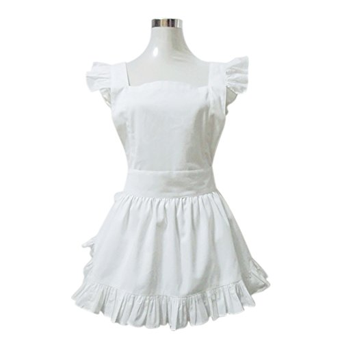 Aspire White Apron Cute Women's Apron French Maid Style Cooking Aprons Kitchen Halloween Party Favor - (French Maid Party)