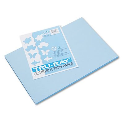 Tru-Ray Construction Paper, 76 lbs., 12 x 18, Sky Blue, 50 Sheets/Pack, Sold as 50 Sheet