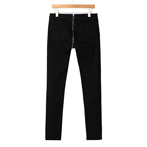 Skinny Matita Cerniera Alta Denim Sammoson Donne Posteriore Jeans Pantaloni Nero Stretching A Vita 460YqY