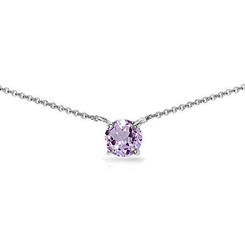 (Sterling Silver Amethyst 7mm Round-cut Dainty Choker Necklace)