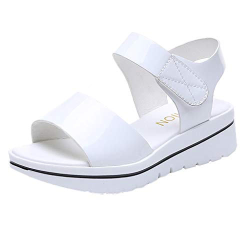 2019 Summer Fashion Women Solid Color Wedge Sandals Casual Fish Mouth Shoes Retro Roman Non-Slip Beach Shoes (White, 6.5 M -