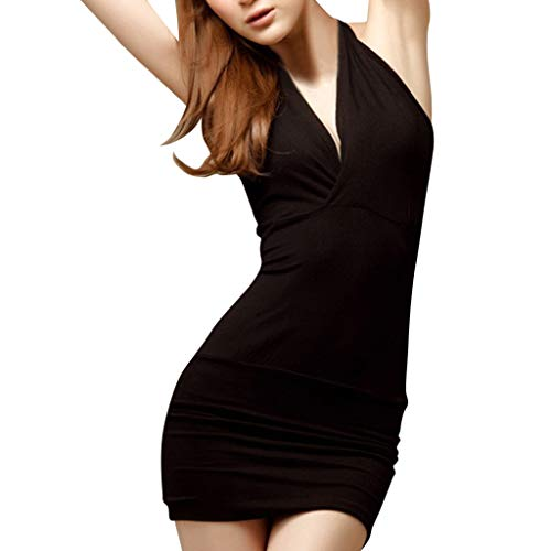 (KESEELY Women Back was Thin V-Neck Sexy Self-Cultivation Bag Hip Skirt Temperament Sexy Pajamas Black)