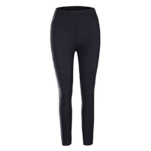 LAEMILIA Womens Skinny Stretch Pleated Ankle Zipper Pencil Moto Pants Jeggings Slim Fit Comfy Stretchy Low Waist Black