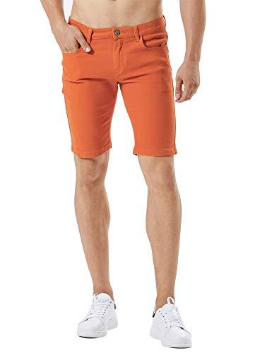 - ZLZ Stretch Jean Short for Men, Men's Casual Slim Fit Denim Short (Orange, 36)