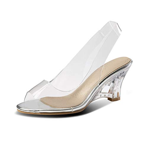 MIOKE Women's Clear Wedge Slide Sandals Fashion Crystal Open Toe Slip On Slingback High Heel Dress Sandal Silver
