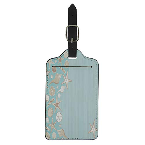 Pinbeam Luggage Tag Seashell Beach Party Variety of Shells on Aqua Suitcase Baggage Label (Best Seashell Beaches On The East Coast)