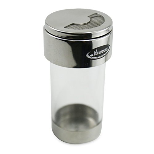 Mesh Shaker, Newness Stainless Steel and Clear Acrylic Seasoning Fine Mesh Shaker with Rotating Cover, 3.7 Ounces (110 Milliliter)