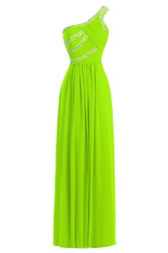 Un Perlées D'épaule Bess Femmes De Mariée Longueur De Plancher Formelle Robes De Bal Vert Lime