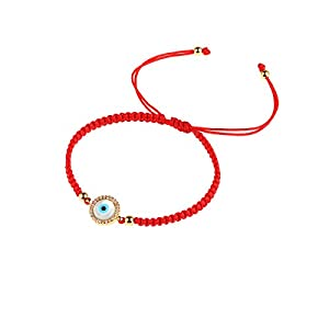CEYIYA Evil Eye Bracelet Gold Plated – Faith Protection Lucky Slider Jewelry for Women and Girls,Dainty Charm Adjustable Bracelet with CZ for Mom