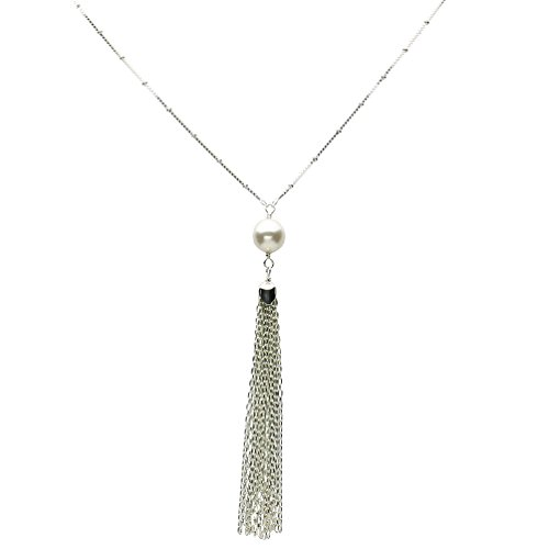 Sterling Silver Chain Tassel Box Beads Station Chain Y Necklace Italy 36
