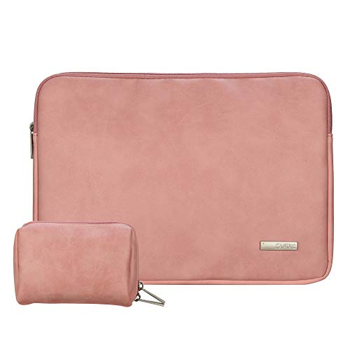 CASE STAR Laptop Sleeve MacBook Protective Bag Compatible 15 Inch New MacBook Pro with Touch Bar A1707 | A1990 14 Inch ThinkPad Laptop PU Leather Waterproof Bag + Small Bag case (14 Inch, Fresh Pink)