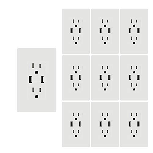 Price comparison product image USB Outlet, 3.1A USB High Speed Wall Charger, Electrical Outlet with USB, 15A TR Receptacle w/Wall Plate, for iPhone XS Max, Samsung Galaxy etc, White MICMI (3.1A USB outlet 10pack)