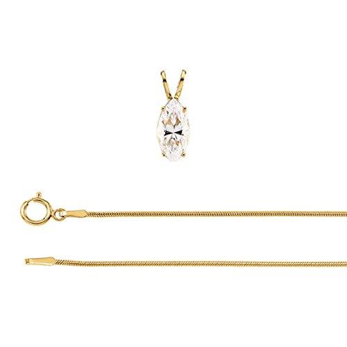 Pendentif et collier avec un solitaire diamant Marquise Or jaune-585/1000 ( 0.63 Ct, G Couleur, I1 Clarté)