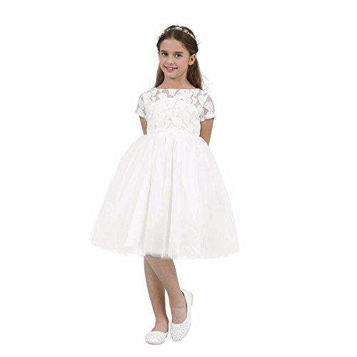 iEFiEL Big Girls Lace Leaf Heart Cutout Back Church Wedding Flower Girl Dress Bridesmaid Short Gown Ivory 6 by iEFiEL