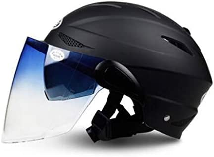 ZJJ ヘルメット- ファッションユニセックスヘルメット、雨と紫外線保護ヘルメット、ダブルレンズ (色 : マットブラック まっとぶらっく, サイズ さいず : 17x25cm)